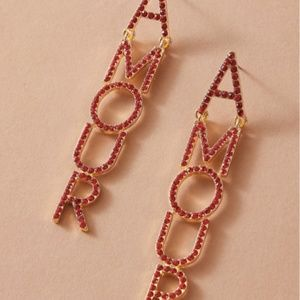 Jewelry - 1pair Rhinestone Red Letter AMOUR Drop Earrings